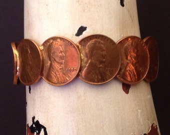Vintage Hand Made Penney Bracelet Featuring Old Pennies / Wheat Pennies