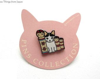 NEW Pottering Cat with Kokeshi Dolls Pin, Kawaii