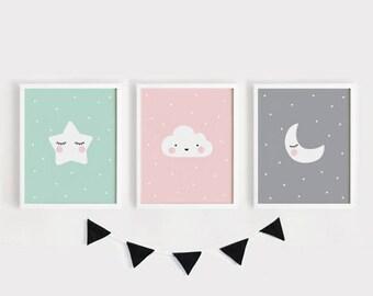 Star Cloud Moon nursery decor Printable Nursery Art Set of 3 Poster Baby room Wall art Kids room decor Mint Gray Pink INSTANT Digital print