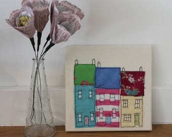 Original textile art, little terrace of houses, ideal gift, handmade recycled fabric picture