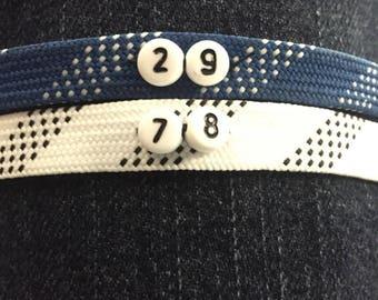 Hockey Lace Bracelet,Numbered, Buckle Clasp, *CUSTOM*