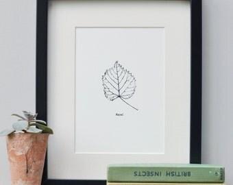 Plant Leaf Art Print, Leaf Print Art, Monochrome Leaf, Botanical Print, Original Art, Handmade, Screen Print, Home Decor, Botanical Art