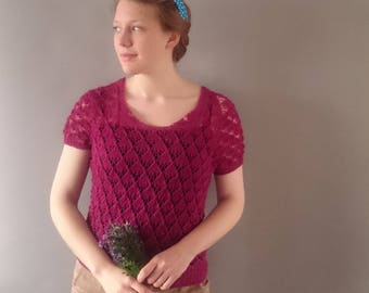 1940s summer lace sweater pure merino wool 1940s reproduction hand knit wear