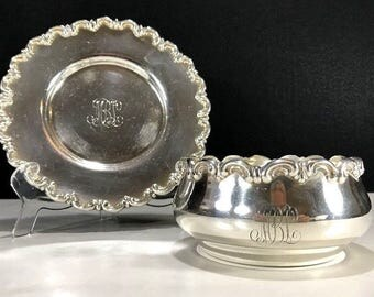 WHITING Sterling Silver Children's Breakfast Bowl And Plate Dated 1895 Monogram MLB