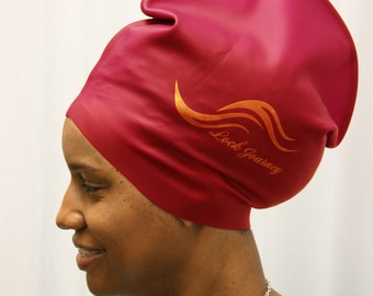 XL Red - Silicone Swim or Shower Cap For Dreadlocks, Braids and Longer Hair Styles