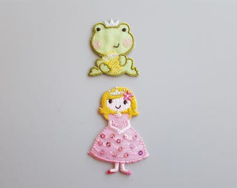 Princess and Frog Applique Princess Frog Patch Iron On Sequins Pink Princess Frog Half Embroidered