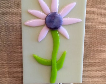 Fused Glass,  Pink Daisy, Flower, Night Light, Nursery Light, Child's Room, Sun Room, Kitchen Light