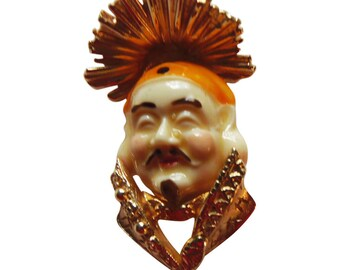 "Vintage Asian Man Brooch/Pin ""Ming"" Signed Napier-Book Piece"