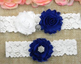 Air Force Wedding Garter, US Air Force Wedding Garter Set, U.S. Air Force Bridal Garter, White and Royal Blue Keepsake and Toss Garter Set
