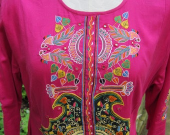 Embroidered Shalwar Kameez/ Bright Fuchsia Indian Tunic/ Heavily Embroidered Tunic With Tiny Mirrors