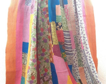 SUPER EXQUISITE!! Collectors item!! Vintage kantha quilt /India/ throw/ blanket/ coverlet/ Sari quilt/ Gudri/ Ready to ship!!