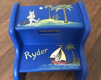 wild things step stool, hand painted step stool, personalized step stool, kids step stools