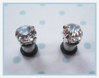 The Tiny White Crystal on Stainless Steel wedding valentine EAR TUNNEL plug Earrings you pick gauge sizes - 12g, 8g, 6g aka 2mm, 3mm, 4mm