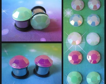 Pastel Polygon on stainless steel jelly drill Kawaii EAR PLUG earrings you pick gauge and colors 4g, 2g, 0g, 00g AKA 5mm, 6mm, 8mm, 10mm