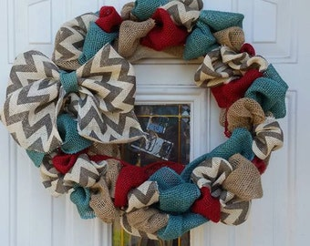 Red Burlap Wreath-Teal Burlap Wreath-Plain Burlap Wreath- Chevron Burlap Wreath- Chevron Bow-springtime wreath