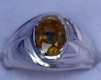 Brilliant Yellow Sapphire Pukhraj Silver ring for Men and Women great Luster