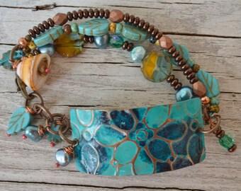 Boho blue metal bracelet - DayLilyStudio