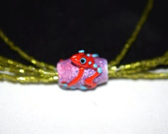 """Multi Strand Necklace, Christmas Necklace,Frog Jewelry,Lampwork Bead, """"Frog in the Grass"""",16 in,  Vintage Bugle beads"""