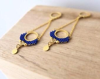 Boucles d'oreilles Alya, dentelle de perles Miyuki sur anneau doré à l'or fin 24k.