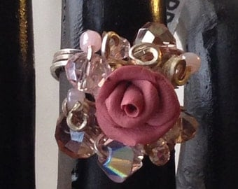 RR28S Rose ring, burgandy rose, pink crystals, silver wire, size 7