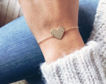 Bracelet, chain thin heart plate gold - heart gold plated bangle