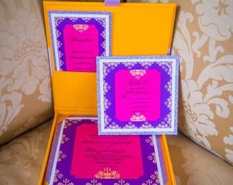 Indian Wedding Invitation Bar Mitzvah Box Quinceanera Card