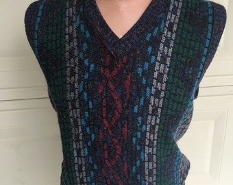 Vintage Mens Sweater Vest V Neck Geometric Print Vest by London Fog