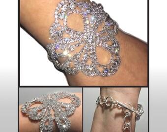 Stunning Swarovski Crystal Rhinestone Wide Toggle Bracelet in Silvertone or Goldtone Smooth & Comfortable!