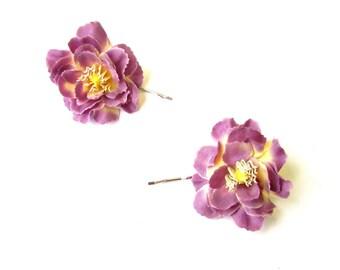 2x Purple Wildflower Flower Hair Grips Clips Bridesmaid Bobby Pins Slides 2111