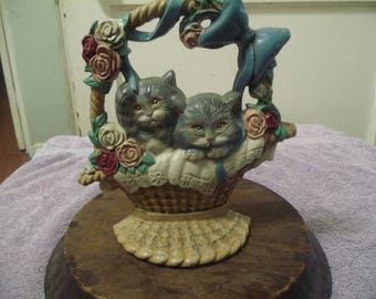 2 cats in a Basket Cast Iron Doorstop/BookEnd