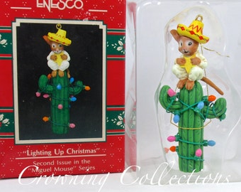 Enesco Lighting Up Christmas Miguel Mouse Ornament Feliz Navidad Treasury of Christmas Vintage Cactus
