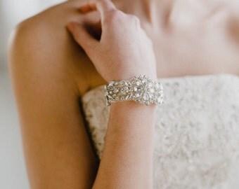Silver Wedding Cuff   Silver Bridal Cuff   Bridal Cuff Bracelet   Wedding Cuff Bracelet   Rhinestone Silver Bracelet   Silver Gemma Bracelet