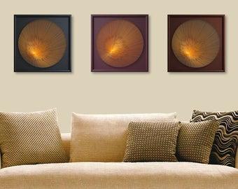 UV Wall Art Set, Zen 3D String Art, Spiritual, Sacred Geometry Art, Harmony in Black, Brown, Bordeau, Orange, Bohemian, Handmade Framed