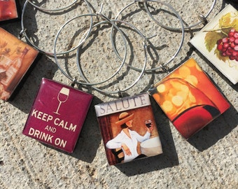 Wine Lover's Wine Charms, Wine Charms, Scrabble Tile Wine Charms, Wine Lover Gift, wine Markers