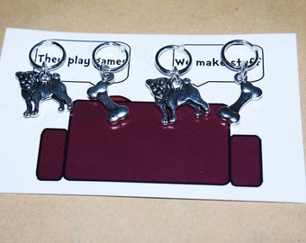 Pugs and Bones stitch markers