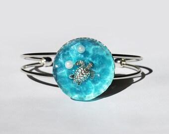 Ocean Sea Bracelet, Beach Jewelry, Piece of Sea, Handmade, Summer Gift, Jewelry, Resin bracelet, Turtle jewelry, Summer bracelet,