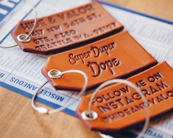 Custom Leather Luggage Tags w Silver Metal Cable & Grommet - Saddle Tan Color - Unique Font - Burnished Edges - Great As Unique Gifts/Favors