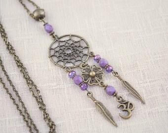 Dreamcatcher pendant, Purple beaded necklace, Hippie Dream Catcher necklace, Feather flower necklace