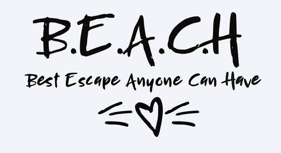 SVG Beach Best Escape Anyone Can Have Heart Quote Cut File Printable Cricut Silhouette Instant Download