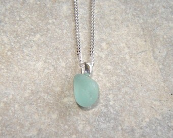 Seaglass Necklace, Green Blue Aqua English Sea Glass Pendant, Tiny Northumbrian Sea Glass Necklace in Sterling Silver, Jewelry Gifts for Her