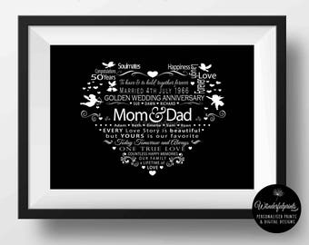 50th Wedding Anniversary Gift / For Mom and Dad / PRINTABLE / Gift for Parents / Personalised / Custom / 8x10 / 11x14 / Digital Download /