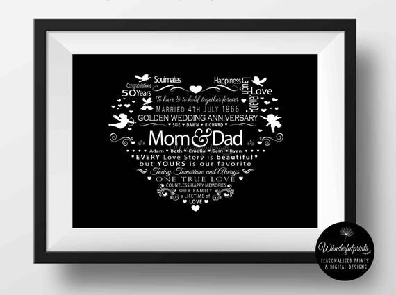 Golden Wedding Gift Ideas For Parents: 50th Wedding Anniversary Gift / For Mom And Dad / PRINTABLE