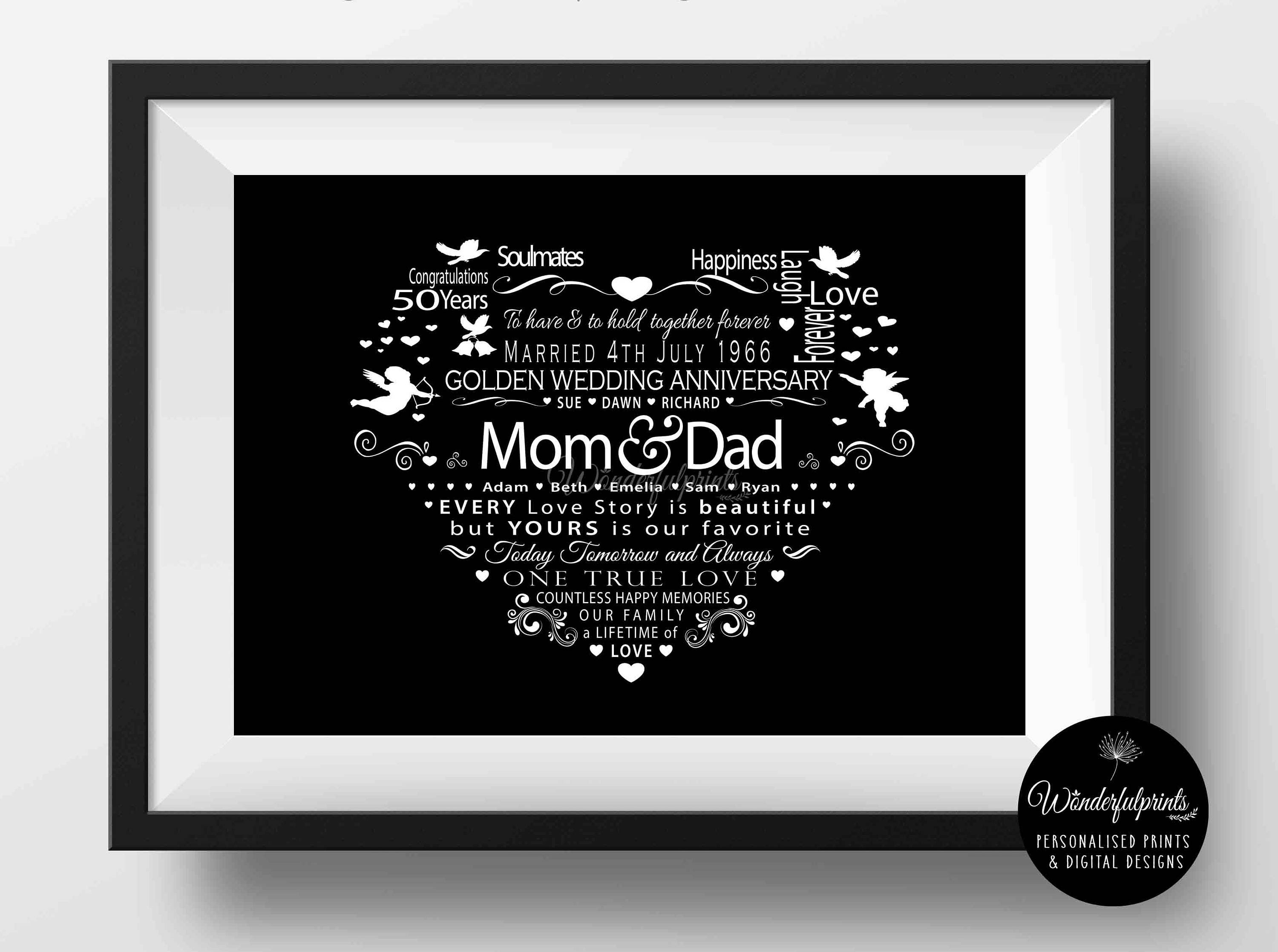 Wedding Anniversary Gift For Mom And Dad : 50th Wedding Anniversary Gift / For Mom and Dad / PRINTABLE /