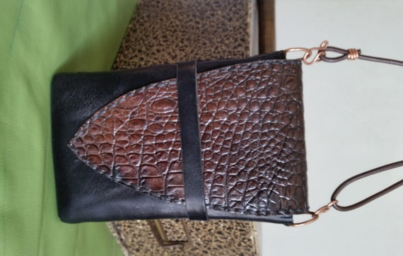 LEATHER CROSSBODY PHONE Bag. Doubles as Belt Pouch, Wristlet. Black and Brown Reptile Leather, Handstitched. For iPhone 6+7, Samsung S6 S7