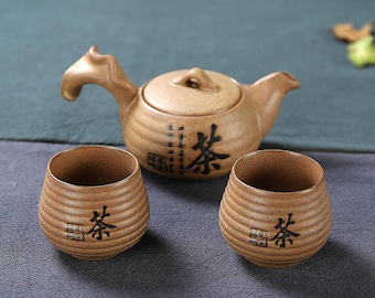 Chinese Ceramic Travel Tea Set Pottery Tea Set 1 Teapot with 2 Tea Cups, Free Shipping