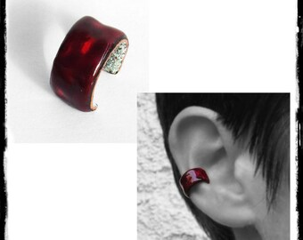 Bague d'oreille en cuivre et émaux sur cuivre- ear cuff cuivre- manchette d'oreille - couleurs au choix- sur mesure- oreilles non percées