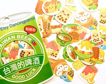Asian food stickers Kawaii food stickers Taiwanese food stickers Fried tofu Bubble tea Steamed buns Food themed stickers Cute flake stickers