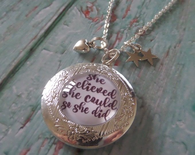 she believed could, so she did, silver tone locket, glass dome, r s grey quote, charm necklace, she believed gift, locket gift