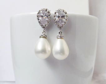 pearl teardrop earrings silver pearl wedding earrings, pearl bridal earrings, teardrop pearl earrings, pearl drop earrings, pearl jewelry