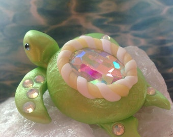 Mom And Baby Turtle, Polymer Clay Turtles, Tortoise, Turtle Ornament, Cake Topper,Turtle Sculpture, OOAK, Handmade, Marine Life, Reptile